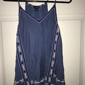 Lucky Brand Flowy Blue Tank Top With Embroidery